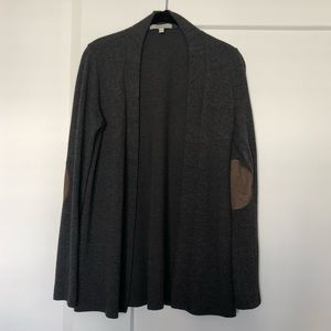 Long gray sweater with elbow patches